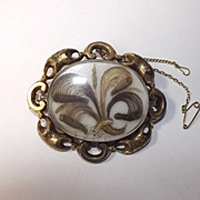 Fabulous Large Victorian Gold Mourning Brooch With Hairwork