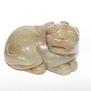 Ching Style Hand Carved Chinese Nephrite Celadon Jade Figure of Fortune Foo Dog