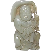19th Century Chinese Nephrite Jade Boy Holding A Lotus Leaf