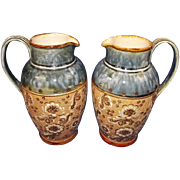 Circa 1910 Pair Of Slater Royal Doulton Stoneware Jugs