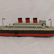 1930's Clockwork Tinplate Queen Mary Liner By Modern Toys Japan