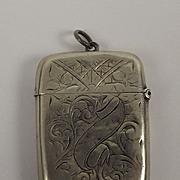 Silver Vesta Case By J.W. Tiptaft - Birmingham 1890