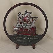 Victorian Cast Iron Galleon Sailing Ornamental Stand