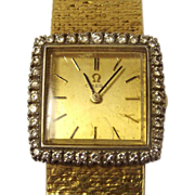 Ladies Omega 18ct Gold 0.72ct Diamond Swiss Watch