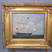 """William Clark  (Of Greenock, Scotland, 1804-1883)  Oil on Board of the Barque """"Tay"""""""