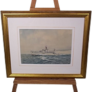 Watercolour Of HMS Fleetwood (F47) By Eric Erskine Tufnell - Grimsby Class Sloop