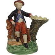 19th Century Staffordshire Gardener Figural Spill Vase