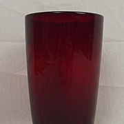 Whitefriars Ruby Moulded Swags Glass Vase