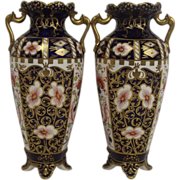 Pair Of Fine 1907  Royal Crown Derby Imari Pattern Slender Vases