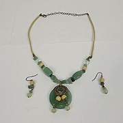 Vintage Chinese Jade And Glass Bi Disk Necklace And Earrings