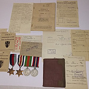 WWII France and Germany Star Group Of 4 Medals With Original Documents