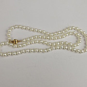 Vintage Pearl Necklace With 14 Carat Gold Clasp