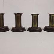 Four WWI Trench Art Candlesticks Of Brass & Bakelite