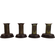 Four WWI Trench Art Candlesticks Of Brass & Bakelite