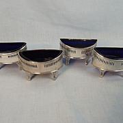 4 Silver Open Salt Bowls Georgian & Edwardian London 1791 (x3) 1906 (x1)