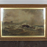 Imposing Derelict Off Bamburgh Castle Oil Painting By Thomas Bush Hardy