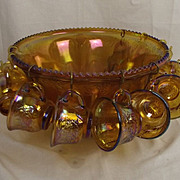 Orange Carnival Glass Punch Bowl & 12 Matching Punch Cups