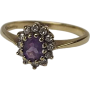 9 Ct Gold Amethyst & Diamond Cluster Ring UK Size M+ US 6 ½ 1990