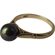9ct Gold Green Lustre Grey Pearl Ring UK size I+ US Size 4 ¾