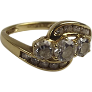 14ct Gold Topaz & Glass Twisted Band Ring UK Size P (US 7 ¾)