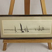 Plymouth Harbour – Original Drypoint By Rowland Langmaid
