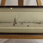 Fairway into Portsmouth – Original Drypoint Etching By Rowland Langmaid