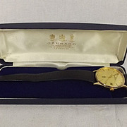 Garrard 9ct Gold Quartz Gents Watch With Orig. Strap & Case