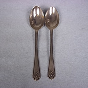 Pair Of Sterling Silver Golf Detailed Teaspoons Hallmarked for Sheffield, 1932 by Walker & Hal
