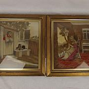 c1820 Pair Of Regency Silk & Woolwork Tapestry Pictures