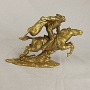 Gilt Spelter Figure Of A Dashing Cavalryman