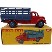Boxed Dinky Toys 343 – Farm Produce Wagon (Red/Blue)