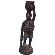 Hunting Figurine From Kenya Featuring Animals And A Flintlock  C.1870