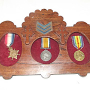 Framed WW1 Medal Trio Awarded To Cpl.  H. Lees Of The Royal Irish Rifle Regiment
