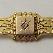 Victorian 9ct Yellow Gold & Diamond Aesthetic Style Brooch 1893