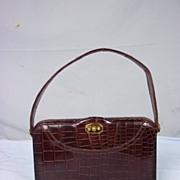 Vintage 1950's Crocodile Brown Handbag With Purse & Mirror