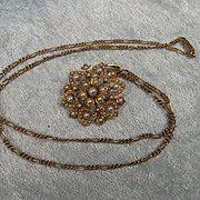A Victorian 15ct Yellow Gold & Pearl Necklace
