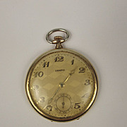 1920/30's Art Deco Tempo Open faced Gold Filled Top Wind Pocket Watch