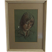 Aileen Wyllie (Daughter Of W.L. Wyllie) Framed Pastel Of A Girls Portrait 1976