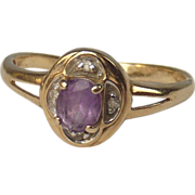 9ct Yellow Gold Amethyst & Diamond Ring UK Size P+ US 8