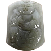 Chinese Ching Period Carved Celadon Nephrite Jade Belt Clasp Of Boy With Carp