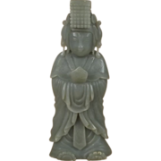 Chinese Hand Carved Ming Style Nephrite Jade Figure Of An Emperor