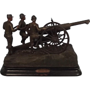 French Spelter WW1 75 Notre Field Gun Centrepiece Display Statue