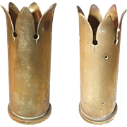 Pair Of WW2 Trench Art Vases Made From 40 mm Bofors Shells Cases