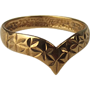 9ct Yellow Gold Wishbone Ring UK Size N+ US 7