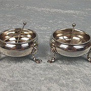 Pair Of George II / III Open Silver Cauldron Salts London 1760 With Later Spoons