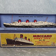 Boxed Pre-War Dinky Toys No. 52 Cunard White Star Liner Queen Mary No.534 1934-35