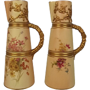 Pair Of Victorian Royal Worcester Blush Ivory Claret Jugs 1897