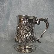 London 1733 George II Embossed Sterling Silver Tankard