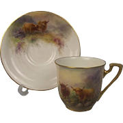 Royal Worcester Miniature Cup And Saucer Of Highland Cattle By John Stinton 1931