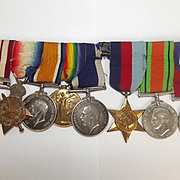 WW1/2 Medal Set With NGS Persian Gulf Clasp, 1914-15 Star Trio LSGC S.E. Bailey